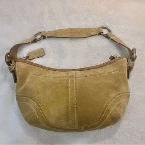 Authentic Small Suede/ Leather Camel Coach  Purse